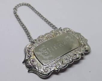 Silver Plate Sherry Wine Decanter Label