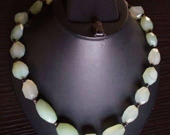 ON SALE Fabulous Chalcedony, Silver Necklace