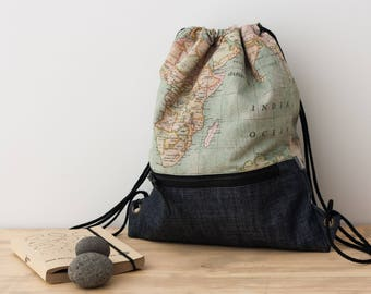 World map backpack. Drawstring Backpack. Simple backpack.  Small backpack. Fabric backpack. Cycling backpack