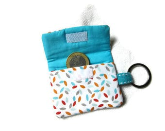 Pouch, case for token Caddy / keychains graphic fabric blue, red, orange, grey, and fabric blue uni