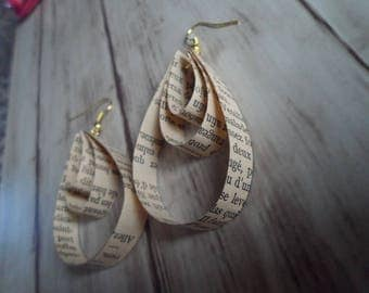 Book paper earrings