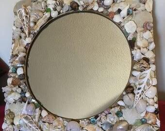 Beach Decor - Large Seashell Mirror - Seashell Mirror/Coastal Decor/Nautical Beach House Mirror