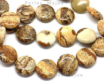 10 perles en jaspe naturel rondes et plates 16 x 6mm