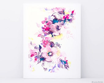 Bright watercolor, flower art, watercolor flower print, abstract flower, flower art, pink flower, floral print, pink watercolor