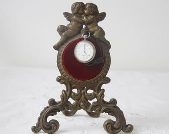Antique Victorian Pocket Watch Stand with Cherub Decor, French Brass Pocket Watch Holder