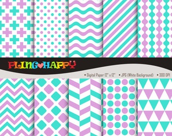 70% OFF Turquoise And Plum Digital Papers, Cross/Polka Dot/Wave/Stripe/Chevron Pattern, Personal & Small Commercial Use, Instant Download