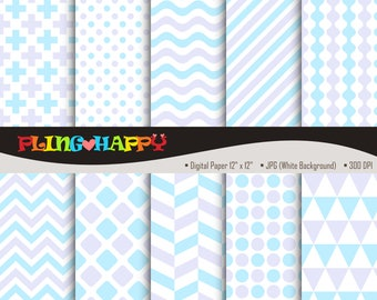 70% OFF Lavender And L.Blue Digital Papers, Cross/Polka Dot/Wave/Stripe/Chevron Pattern, Personal & Small Commercial Use, Instant Download