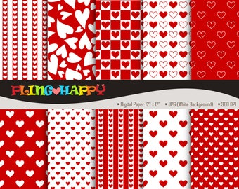 70% OFF Red Love Heart Digital Papers, Red Love Heart Digital Papers Graphics, Personal & Small Commercial Use, Instant Download