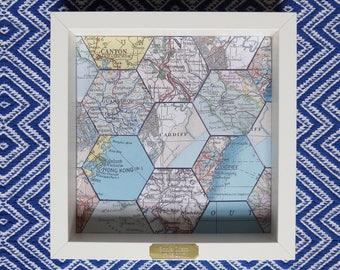Framed Personalised Hexagonal Map Gift: 1st Wedding Anniversary/ Engagement/ House Warming/ Wedding Gift/Travel Memento