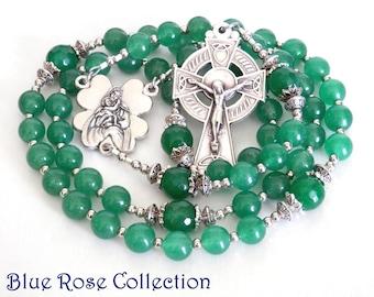 Irish Catholic Rosary for men and women, Dark Aventurine and green agate gemstone rosary, green rosary, Catholic gift for men and women