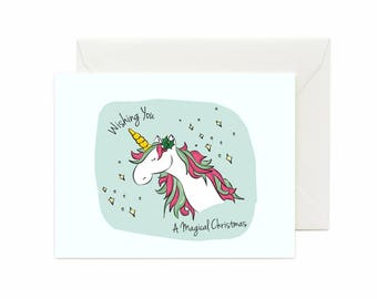 "Unicorn ""Wishing You A Magical Christmas"" Greeting Card"
