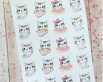 Girly kitty planner sticker set