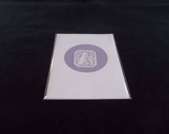 Cards with Belgian Lace block letters A, C, D, E, & F
