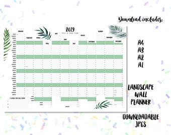 2019 Downloadable Landscape Wall Planner Botanics Design - A1, A2, A3 + A4