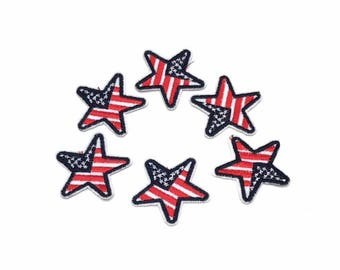 Patriotic America Star Patches Red White Blue (Sold in Set of 6 Pieces) Iron on or Stitch