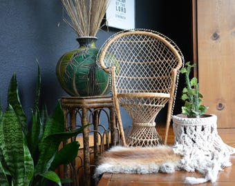 Vintage Large Woven Wicker Peacock Chair | BOHO Bohemian Plant Stand | Plant Pot Holder | Wicker Fan Peacock Chair