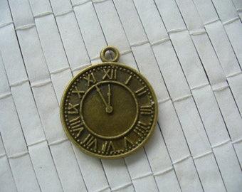 bronze colour Tibetan silver clock charm pendant