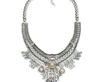 Bohemian Statement Necklace - Silver Boho Tribal Necklace - bohemian silver necklace
