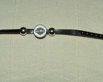 Harley davidson black leather chunk bracelet