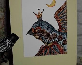 Bird painting,folk art bird painting,whimsical bird picture,fantasy art,whimsical art,folk art,childrens wall art,eagle painting,bird art