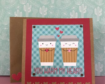 Valentine's Day Coffee Card • Heart Card • Love Card • Girlfriend Card • Boyfriend Card • For Anyone