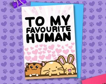 To My Favorite Human Valentine's Card Cats bunny tiger Love Girlfriend Anniversary boyfriend husband wife Kawaii Love Fuzzballs Greeting