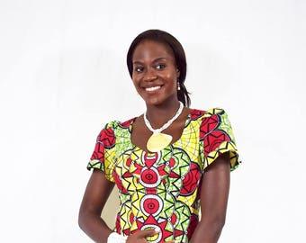 Red and Yellow Bell Sleeve Ankara Dress, Short Cotton Dress, Ladies' Summer Dress, African Wax Dress - Made to Order