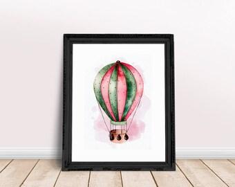 Hot Air Balloon   Hot Balloon Nursery, Summer Nursery Decor, Summer Balloon Decor, Floral Balloon, Kids Balloon Summer, Balloon Summer Print