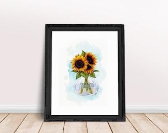 Sunflower Wall Art   Yellow Bouquet Art, Floral Bouquet Print, Floral Bouquet Art, Floral Newspaper, Newspaper Wall Art, Flower Newspaper