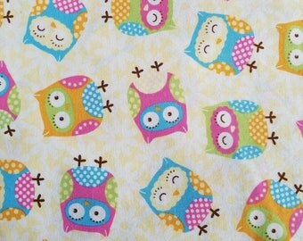 Cotton Fabric, Sewing Fabric, Quilting Fabric, Cute Owls, 4 yards-Ready to Ship
