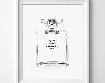 Chanel l'eau Chanel art printed Large Chanel wall art coco Chanel poster coco Chanel print coco Chanel wall art chanel Chanel No.5 Sketch