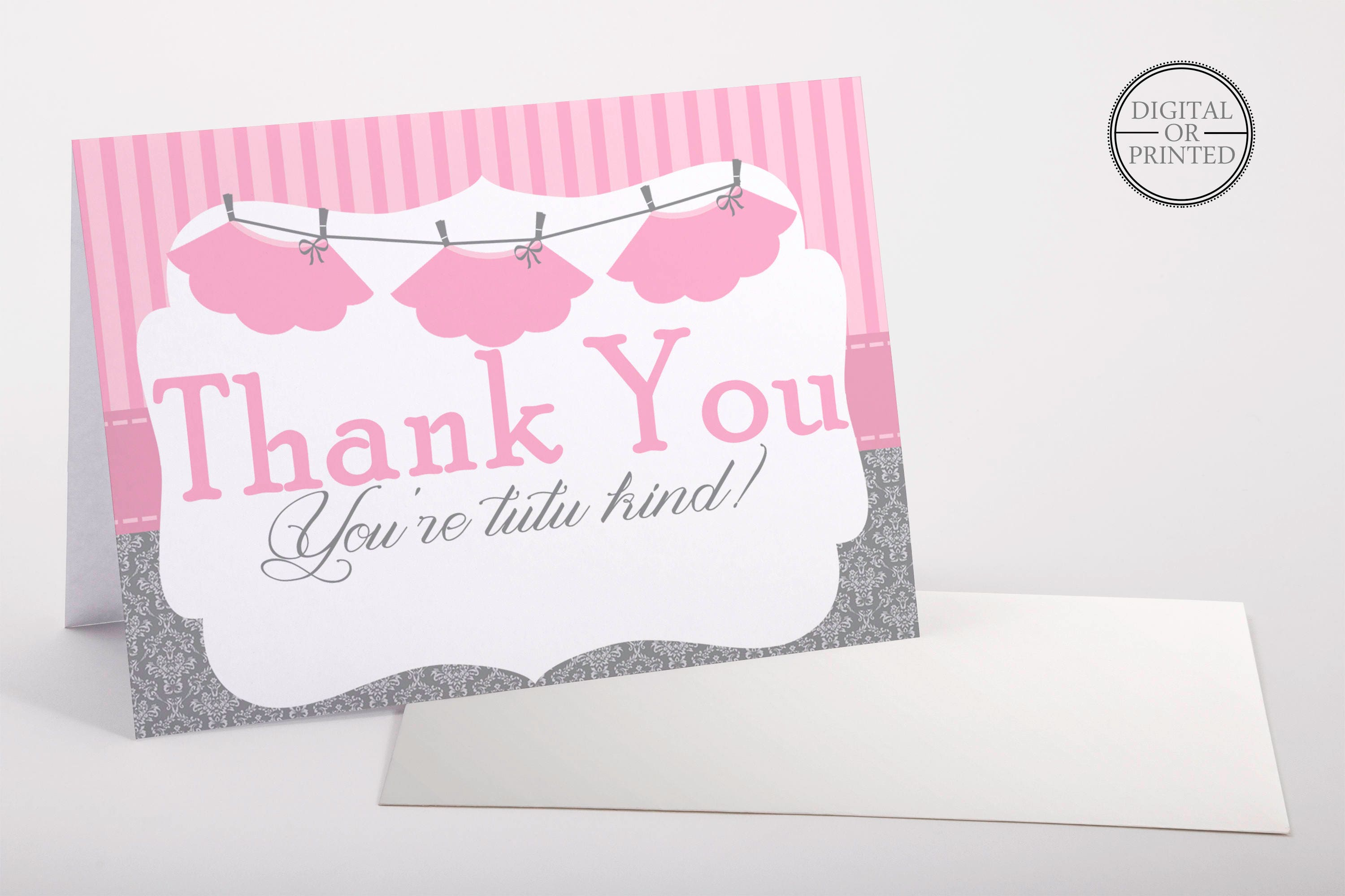 Tutu Cute Thank You Cards Tutu Baby Shower Thank You Card