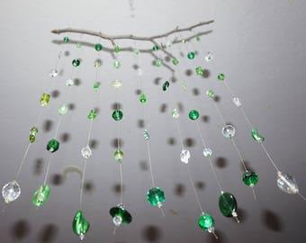 SunCatcher windchime wind chime Dreamcatcher mobile glass beads crystal glass beads sundance green