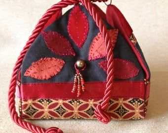Small jewelry box made of cotton, velvet, trimmings and beads. Valentines Day gift idea. Boho