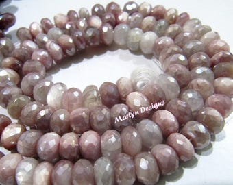 Best Quality Natural Peach Moonstone Beads , Rondelle Faceted AB Coated Peach Moonstone Beads 9-10 mm, Strand 7 inch long, Far Size Gemstone