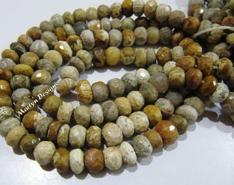 AAA Quality Natural Fossil Coral Beads 7 mm , Rondelle Faceted Earth Mined Beads , Strand 12.5 Inches Long , Finest Quality Unique Gemstone.