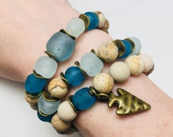 """Set of 3 """"Bea"""" picture jasper and sea glass beaded bracelets • Fast and free shipping"""