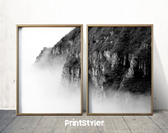 Mountain Print Mountain Art Mountain Poster  Mountain Wall Art Nature art Black and white mountain art