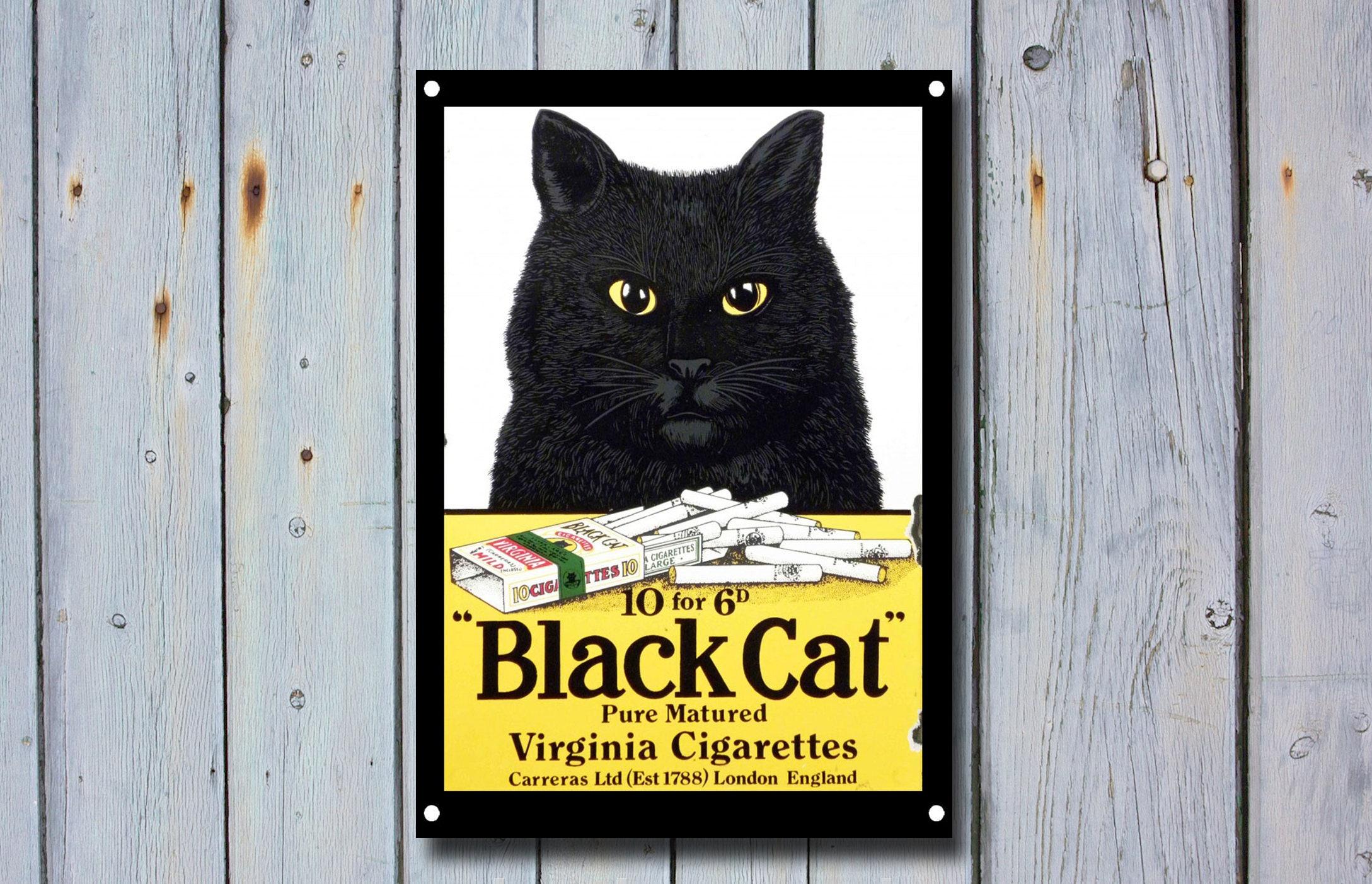 Black Cat Metal Sign, Vintage Sign, Vintage Advertisement Memorabilia, Wall  Décor, Bar