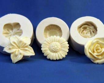 Floral Trio Molds--Silicone - 3 pieces