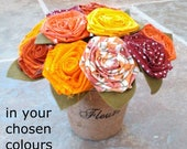 Image of Cotton flowers, cotton bouquet, 2nd wedding anniversary, Mothers Day flowers, Mothers Day bouquet fabric flower bouquet, fabric flowers