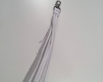 White cowhide leather Tassel Me purse clip