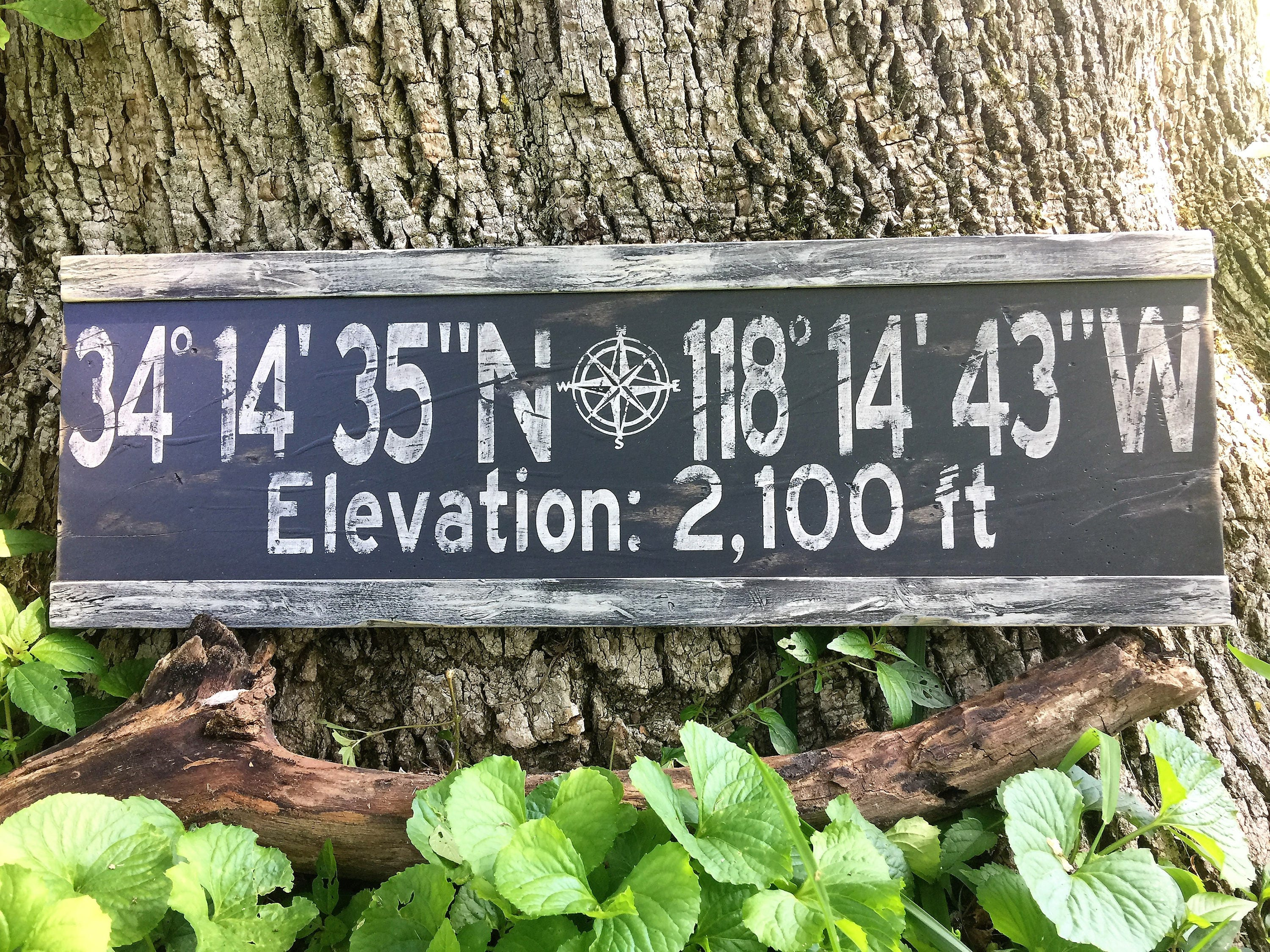 Personalized Latitude Longitude Elevation SignCustom Longitude - Elevation from lat long coordinates