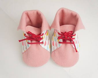 Pink Sneakers Shoes, baby girl, printed cotton and wool, size 18-22