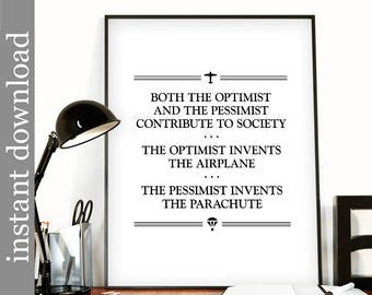 Optimist Quote, printable wall art, office wall art, cubicle decor, inspirational quote, pessimist quote, office printable, dorm poster