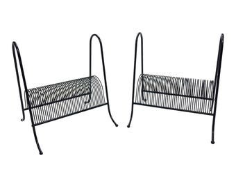 Vintage WIRE RACK PAIR ~ Great for Records ~ black mid century modern metal stand lp storage vinyl 60s retro keeper living room magazine