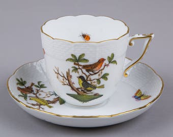 Herend Rothschild Bird Tea or Cappuccino Cup with Saucer