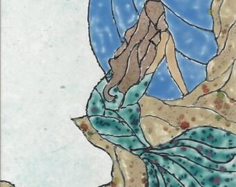 Mermaid #266 Hand Painted Kiln Fired Decorative Ceramic Wall Art Tile 8 x 6