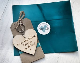 Mum First my Sister Forever my Friend  Engraved Keyring Gift keychain wooden present sis