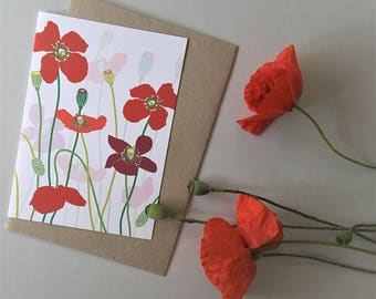 Poppies Greeting Card, Mothers Day Card, Red Poppys, Get Well Card, Flower Birthday Card, Poppy Flowers, Red Flowers, Blank Greeting Card